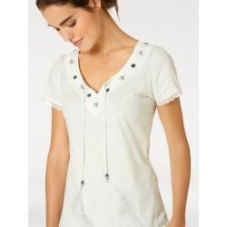 LINEA TESINI tričko s výšivkou,aplikacemi a pírky